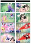4koma ^_^ animal_ears black_hair brown_eyes chasing closed_eyes comic core_drill crossover fluttershy highres inaba_tewi long_hair multiple_4koma my_little_pony open_mouth pleated_skirt pony purple_hair rabbit rabbit_ears red_eyes reisen_udongein_inaba running school_uniform short_hair skirt smile touhou xin_yu_hua_yin