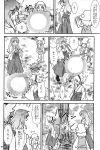 3girls absurdres comic danmaku earmuffs hakama haori hat highres hijiri_byakuren japanese_clothes monochrome moriya_suwako multiple_girls sakana_(ryuusui-tei) touhou toyosatomimi_no_miko translation_request tree yotsubato!
