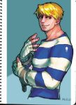 1boy blonde_hair blue_eyes cody_travers cuffs facial_hair grin handcuffs highres marker_(medium) prison_clothes ryuudou_takeshi scan smile solo street_fighter stubble traditional_media wrist_wraps