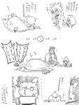 1boy 2girls ahoge alarm_clock animal_ears blazblue bodysuit cape cat_ears cat_tail chibi clock comic drowsy futon glasses iron_tager jin_(mugenjin) kokonoe lambda-11 multiple_girls navel sleeping sleepy tail