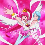 1boy 1girl :d aino_megumi arm_up blue_(happinesscharge_precure!) blue_eyes blue_hair brooch carrying cure_lovely happinesscharge_precure! highres jewelry kiss_mark long_hair magical_girl mont_blanc_(heartcatch_ayaya) open_mouth pants pantyhose pink_background pink_eyes pink_hair pink_skirt ponytail precure princess_carry shirt skirt smile super_happiness_lovely tiara white_legwear wrist_cuffs