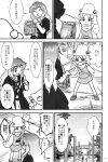 2girls absurdres comic frog_print hat highres hijiri_byakuren monochrome moriya_suwako multiple_girls onbashira pyonta sakana_(ryuusui-tei) sweat torii touhou winking yotsubato!
