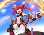 1girl :o black_legwear boots covered_navel elbow_gloves fire gloves knee_boots leotard long_hair mecha_musume ore_twintail_ni_narimasu rando_seru red_eyes redhead solo sword tail_red thigh-highs twintails weapon