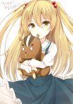 1girl :/ blonde_hair doll_hug hair_bobbles hair_ornament hiiragi_yashiro himeki_chifuyu inou-battle_wa_nichijou-kei_no_naka_de lissun_(inou-battle) long_hair looking_at_viewer school_uniform solo stuffed_squirrel translation_request two_side_up yellow_eyes