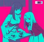 2girls dessert fate/stay_night fate_(series) food illyasviel_von_einzbern limited_palette matou_sakura multiple_girls tam_(cuq) tray