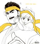 1boy 1girl :p brekkist eyebrows facial_hair father_and_daughter happy_new_year headband makoto_(street_fighter) mustache new_year piggyback sideburns spot_color street_fighter thick_eyebrows thumbs_up tongue tongue_out younger