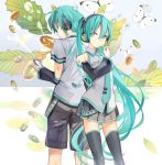 1boy 1girl acorn aqua_eyes aqua_hair back-to-back butterfly detached_sleeves hatsune_miku hatsune_mikuo headphones kari_kenji leaf long_hair mouth_hold necktie shorts skirt thigh-highs twintails very_long_hair vocaloid