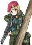 1girl assault_rifle beret blonde_hair camouflage canteen finger_on_trigger green_eyes grenade_launcher gun hat highres load_bearing_vest looking_at_viewer m203 m4_carbine military military_uniform mizuki_reira original patch rifle short_hair simple_background sketch soldier solo tree underbarrel_grenade_launcher uniform weapon white_background