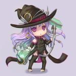 1girl chibi detached_sleeves hat holding kaku-san-sei_million_arthur long_hair looking_at_viewer magical_girl purple_hair solo usanekorin vacuum_cleaner violet_eyes witch_hat