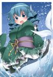 1girl animal_ears blue_eyes blue_hair blush breasts commentary_request female hammer_(sunset_beach) head_fins japanese_clothes kimono large_breasts looking_at_viewer mermaid monster_girl obi open_mouth sash short_hair smile solo touhou wakasagihime
