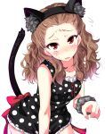 1girl animal_ears black_dress brown_hair cat_ears cat_tail curly_hair dress highres idolmaster idolmaster_cinderella_girls long_hair looking_at_viewer natsu_(anta_tte_hitoha) open_mouth polka_dot polka_dot_dress red_eyes seki_hiromi solo sweat tail