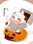 1girl ahoge alternate_costume blush chibi halloween horns jack-o'-lantern kantai_collection long_hair northern_ocean_hime orange_eyes sako_(bosscoffee) shinkaisei-kan translation_request white_hair white_skin