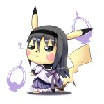 1girl akemi_homura black_eyes black_hair fusion half-closed_eyes highres magical_girl mahou_shoujo_madoka_magica pikachu pointy_ears pokemon qixi_cui_xing shadow simple_background skirt solid_eyes solo soul_gem tail translation_request white_background