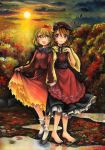 2girls aki_minoriko aki_shizuha artist_name autumn autumn_leaves barefoot blonde_hair brown_eyes brown_hair clouds dated food forest fruit grapes grass hat holding_hands looking_at_another looking_at_viewer mosho multiple_girls nature neck_ribbon ribbon short_hair siblings signature sisters skirt skirt_lift sky smile sun sunlight sunset touhou traditional_media tree water watercolor_(medium) wind yellow_eyes