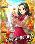 autumn black_hair character_name dress green_eyes idolmaster idolmaster_cinderella_girls short_hair sky soma_natsumi stars
