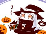 1girl airplane alternate_costume black_dress chibi dress halloween hat kantai_collection long_hair northern_ocean_hime orange_eyes sako_(bosscoffee) shinkaisei-kan translation_request white_hair white_skin witch_hat