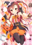 1girl :o black_gloves black_legwear blush boots brown_hair candy cup fang gloves halloween hat jack-o'-lantern legwear_under_shorts long_hair looking_at_viewer original pantyhose porurin_(do-desho) red_eyes shorts side_ponytail sleeveless sleeveless_shirt solo teacup witch_hat