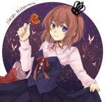 1girl bag blue_eyes brown_hair butterfly candy crown dress halloween happy_halloween jack-o'-lantern lollipop skirt_hold smile umineko_no_naku_koro_ni ushiromiya_maria yuiki_(12692947)
