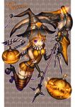 1girl gia halloween highres looking_at_viewer original solo striped striped_legwear thigh-highs weapon