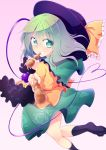 1girl chipa_(arutana) green_eyes green_hair highres komeiji_koishi looking_at_viewer pov pov_eye_contact reaching short_hair smile touhou wavy_hair