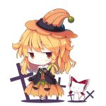 1girl :3 beni_shake blonde_hair bow braid cat cross crucifix fang hair_bow hakurei_reimu halloween halloween_costume hat kirisame_marisa pumpkin_skirt shirt single_braid skirt touhou witch_hat yellow_eyes