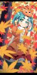 1girl absurdres aqua_hair autumn blurry depth_of_field eyebrows green_eyes hat highres leaf monogatari_(series) nisemonogatari ononoki_yotsugi pointy_ears short_hair striped striped_legwear tarokichi thigh-highs twintails