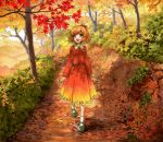 1girl aki_shizuha autumn autumn_leaves blonde_hair blush brown_eyes bush forest gradient_clothes hair_ornament happy hill leaf maple_leaf nature open_mouth path road scenery shiratama_(hockey) short_hair skirt skirt_set smile solo touhou tree walking