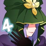 4 caster cloak countdown fate/stay_night fate_(series) gum_(gmng) lips long_hair lowres number purple_background purple_hair smile