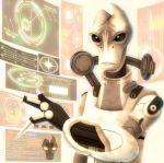 1boy holographic_interface holographic_touchscreen kudamono_gumi mass_effect mordin_solus salarian sepia solo
