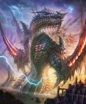 castle clouds dragon highres k-takano lightning monster original sky water