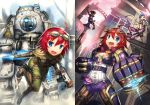 3girls ahoge akuko_(arc) atlas_(titanfall) blue_hair blush caitlyn_(league_of_legends) collage fang gauntlets gia goggles goggles_on_head gun hat jinx_(league_of_legends) league_of_legends long_hair mecha multiple_girls open_mouth original red_eyes redhead rifle submachine_gun titanfall very_long_hair vi_(league_of_legends) vi_(league_of_legends)_(cosplay) weapon