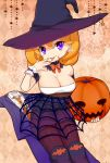 1girl bat blonde_hair boots bowtie breasts cleavage formal halloween hat jack-o'-lantern large_breasts looking_at_viewer mikeseneko nail_polish necktie original pantyhose silk skirt solo spider_web star suit tongue violet_eyes witch witch_hat