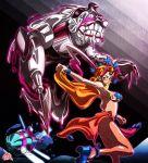 1girl breasts jojo_no_kimyou_na_bouken midler midriff pasties ponytail purple_hair stand_(jojo) star_pasties submarine the_empress uc-lab veil