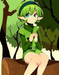 absurdres blue_eyes green_hair hairband highres ocarina_of_time pointy_ears saria shinjou_yuusei short_hair smile the_legend_of_zelda