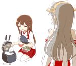 2girls =_= akagi_(kantai_collection) dated detached_sleeves haruna_(kantai_collection) headgear japanese_clothes kantai_collection long_hair looking_at_another multiple_girls muneate nagian nontraditional_miko rice rice_bowl rice_cooker seiza sitting tasuki thigh-highs turret white_legwear