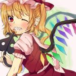 1girl ascot blonde_hair bow flandre_scarlet food food_on_face grin hat laevatein one_eye_closed pastry red_eyes retota ribbon sharp_teeth short_hair side_ponytail smile solo touhou wings