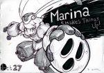1girl alex_ahad android marina_liteyears robot robot_joints short_hair sketch solo super_smash_bros. traditional_media yuke_yuke!!_trouble_makers