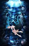 1girl aqua_eyes aqua_hair barefoot cave dress fish floating_hair hatsune_miku highres iji_(u_mayday) jellyfish long_hair shinkai_shoujo_(vocaloid) solo twintails underwater very_long_hair vocaloid