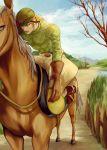 1boy blonde_hair diego_brando hat horse jodhpurs jojo_no_kimyou_na_bouken kilva_lollop red_eyes solo steel_ball_run
