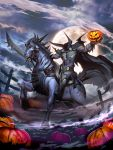 1boy barding bridle cape clouds commentary dullahan fence fog full_moon gauntlets genzoman grass headless headless_horseman high_collar holding_weapon horse jack-o'-lantern male mist moon official_art outdoors outstretched_arms pumpkin red_eyes reins riding saddle sky solforge spikes spread_arms sword weapon