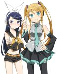 2girls amahara_hiroaki black_hair brown_hair cosplay crossed_arms detached_sleeves gokou_ruri green_eyes hatsune_miku hatsune_miku_(cosplay) headphones headset kagamine_rin kagamine_rin_(cosplay) kousaka_kirino long_hair microphone multiple_girls necktie ore_no_imouto_ga_konna_ni_kawaii_wake_ga_nai sailor_collar shorts thigh-highs twintails v violet_eyes vocaloid