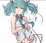 1girl :3 alternate_hair_length alternate_hairstyle aqua_eyes aqua_hair bust hair_ornament hatsune_miku necktie pan!ies puckered_lips short_twintails sketch sleeveless solo twintails vocaloid
