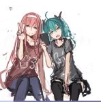 2girls ahoge black_legwear casual denim green_eyes green_hair hairband hatsune_miku jeans long_hair megurine_luka multiple_girls pan!ies pants pink_hair self_shot t-shirt thigh-highs twintails v vocaloid