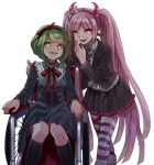 2girls bow dangan_ronpa evil_smile fake_horns glowing glowing_eyes green_eyes green_hair hair_bow hair_ribbon hairband jacket long_hair monaka_(dangan_ronpa) multiple_girls okuragon open_clothes open_jacket pink_eyes pink_hair ribbon short_hair simple_background skirt smile solo striped striped_legwear thighhighs twintails utsugi_kotoko very_long_hair wheelchair white_background zettai_zetsubou_shoujo