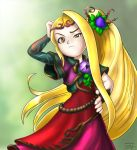 1girl bill_stiernberg blonde_hair dress flat_chest flower frown hair_flower hair_ornament hand_on_head hand_on_hip kid_icarus kid_icarus_uprising long_hair ponytail side_ponytail signature solo very_long_hair viridi yellow_eyes