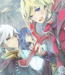 1girl 2boys :d blonde_hair blue_eyes blue_hair book brown_eyes fire_emblem fire_emblem:_kakusei hair_ornament hairband hooded_cloak long_coat looking_at_viewer lucina monado multiple_boys my_unit nintendo open_mouth over_shoulder salumak short_hair shulk sky smile super_smash_bros. sword tiara turtleneck vest weapon weapon_over_shoulder white_hair xenoblade