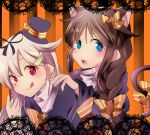 2girls :q ahoge alternate_costume animal_ears blonde_hair blush braid brown_hair cat_ears hair hair_flaps hair_ribbon halloween hand_on_another's_shoulder hat kantai_collection long_hair looking_at_viewer mini_top_hat multiple_girls porokkon ribbon shigure_(kantai_collection) single_braid smile striped striped_background tail_bow tongue tongue_out top_hat yuudachi_(kantai_collection)