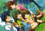 antenna_hair blue_eyes blue_hair bow bread brown_eyes brown_hair casual child clannad dutch_angle family food furukawa_nagisa green_hair grin highres ibuki_fuuko ikeda_kazumi long_hair official_art okazaki_tomoya okazaki_ushio open_mouth overalls picnic picnic_basket pie ponytail scan shoes short_hair smile striped
