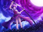 belt hair_ribbon katana long_hair moon no_panties ponytail purple_eyes purple_hair ribbon sheath solo sword touhou unsheathing wallpaper watatsuki_no_yorihime weapon