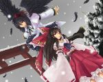 black_hair black_wings boots bow brown_hair cross-laced_footwear detached_sleeves dutch_angle embellished_costume feathers frills gathers geta hakurei_reimu hat japanese_clothes kinsenka lace-up_boots large_bow long_hair miko multiple_girls outstretched_arms red_eyes ribbons shameimaru_aya short_hair skirt snow snowing spread_arms tengu-geta tokin_hat torii touhou wallpaper wide_sleeves wings wink